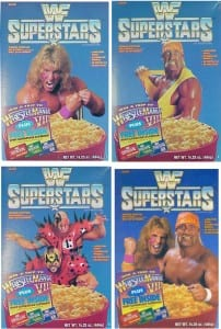 WWF Superstars Cereal boxes featuring The Ultimate Warrior, Hulk Hogan, The Legion Of Doom, and Hogan/Warrior together