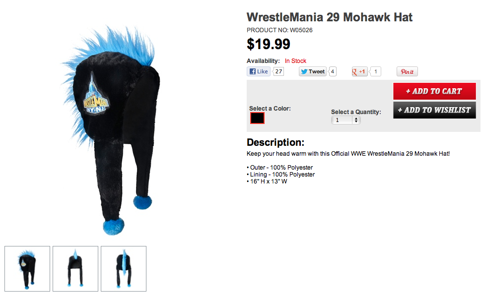 WrestleMania 29 Mohawk hat