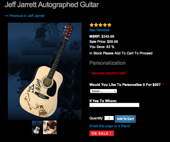 Jeff Jarrett signed guitar