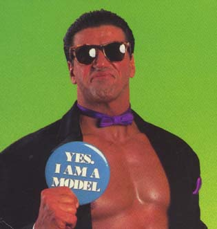 The Model Rick Martel Holding Yes, I Am A Model button