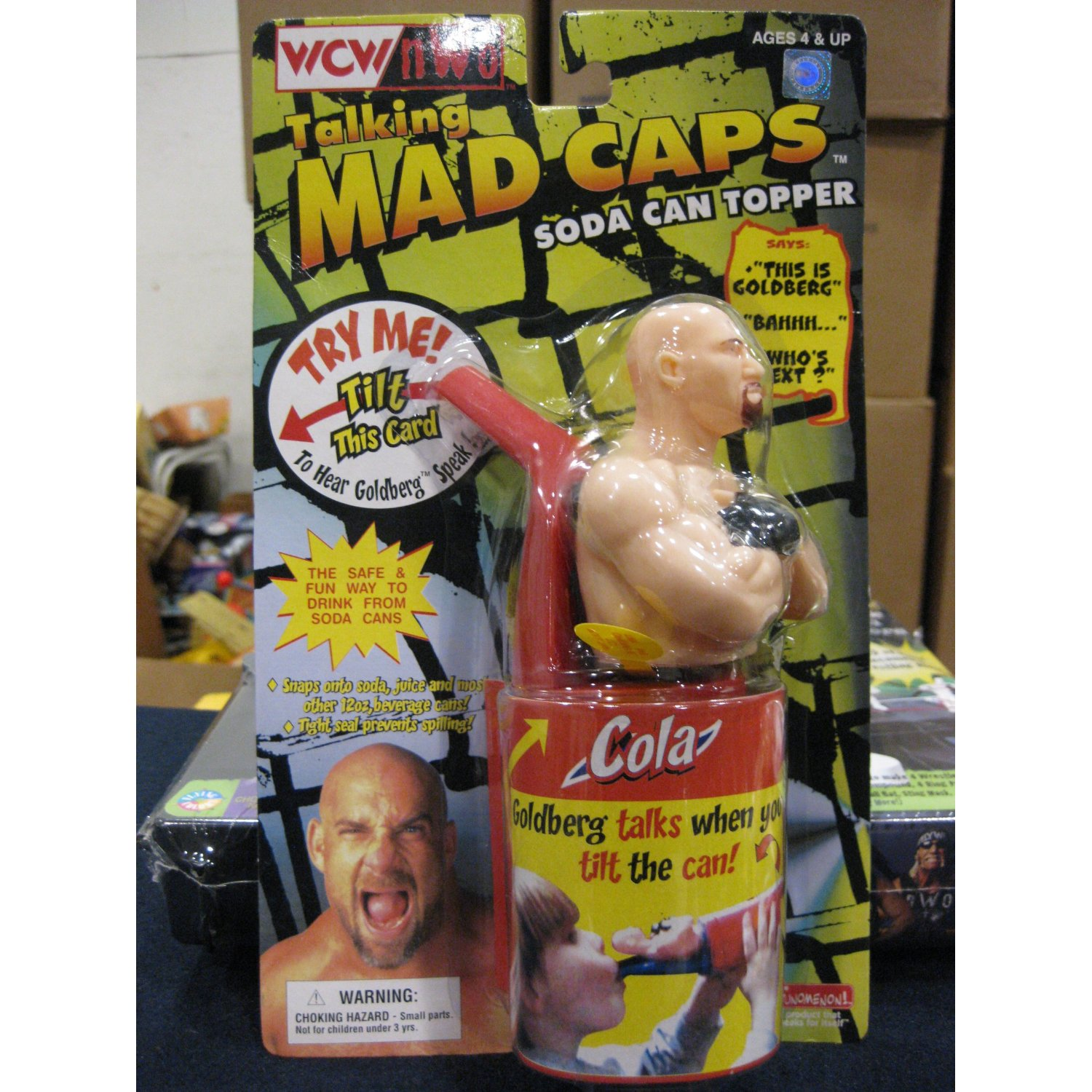 WCW Mad Caps Soda Can Topper Goldberg Front