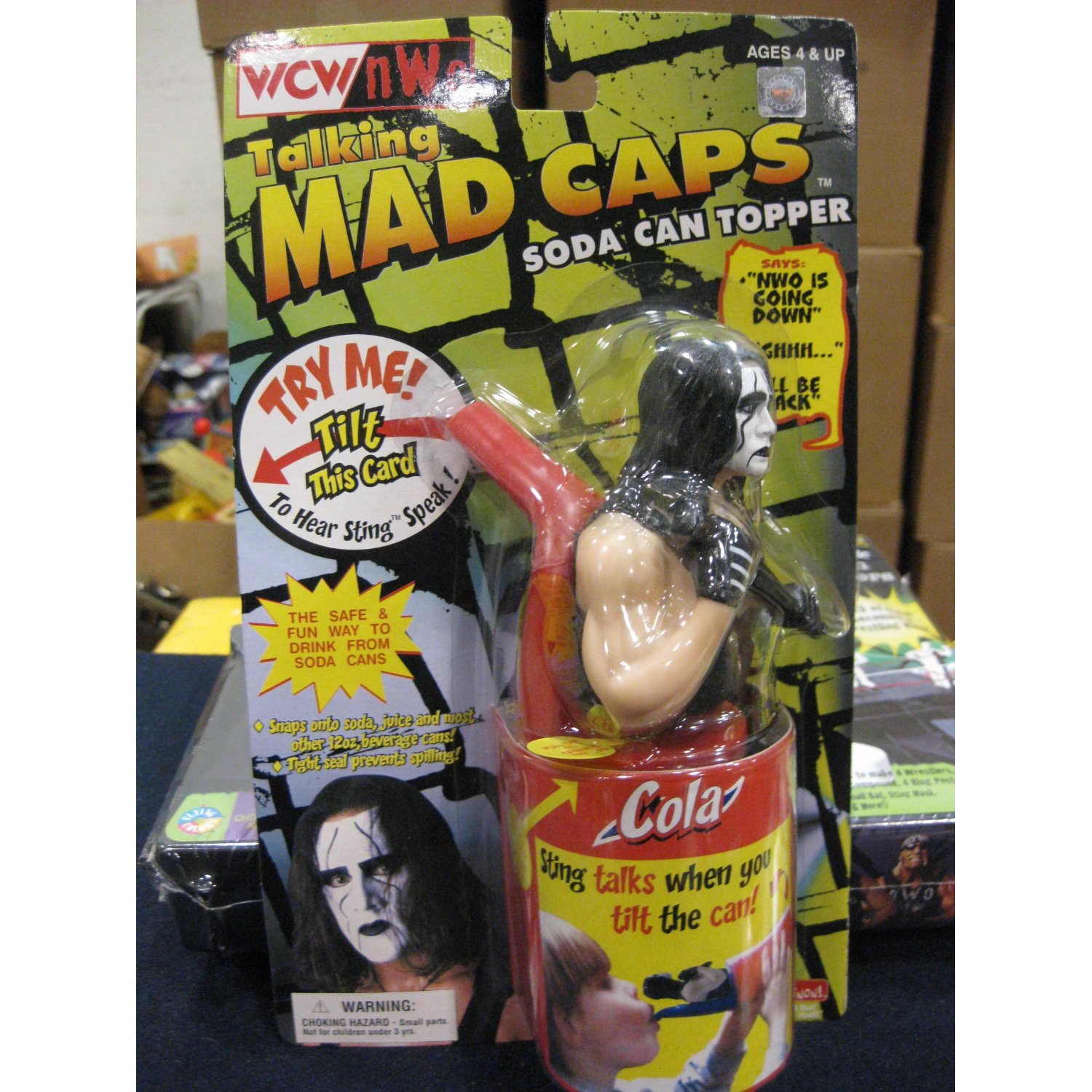 WCW Mad Caps Soda Can Topper WCW Sting Front