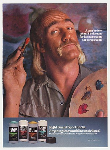Hulk Hogan Right Guard print ad