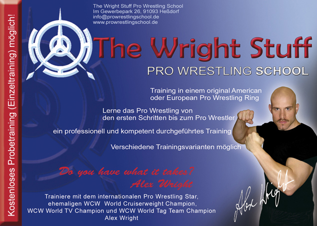 Alex Wright Wrestling School flyer
