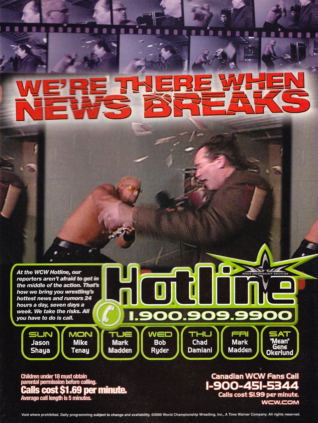 WCW Hotline ad from WCW Magazine