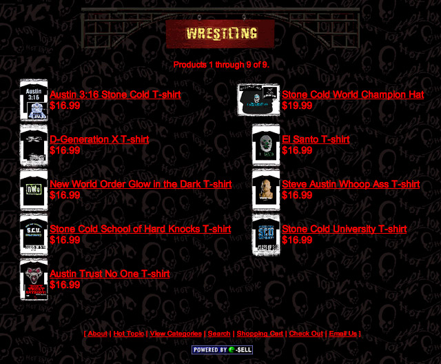 Hot Topic website WWF Wrestling Shirts 1998