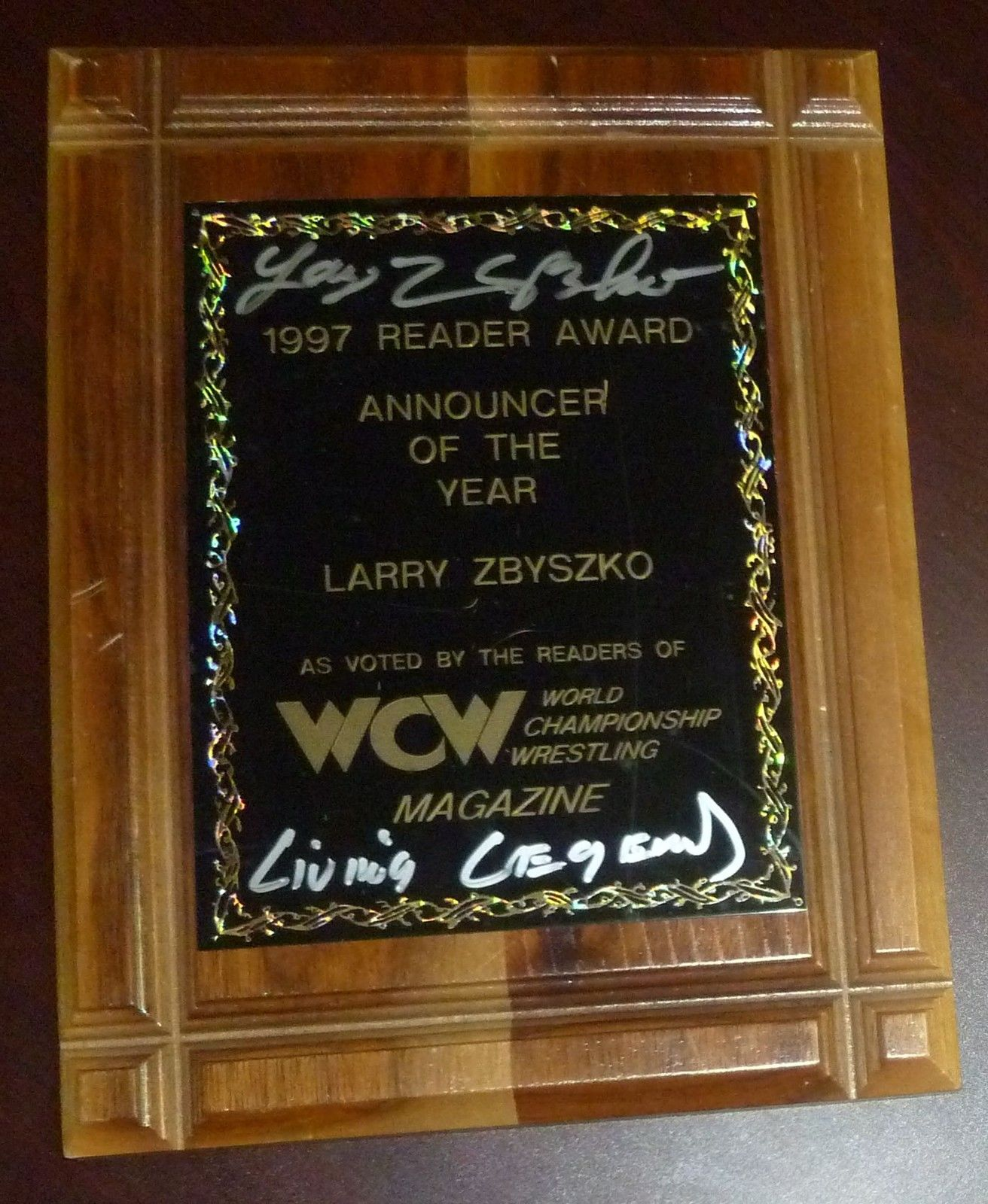 Larry Zbyszko WCW Magazine 1997 Announcer Of The Year Award
