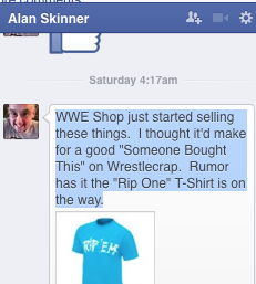 Hulk Hogan Rip 'Em Shirt Alan Skinner Facebook message