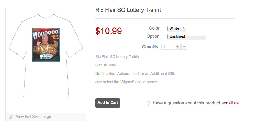 Ric Flair Lottery shirt price description