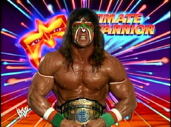 Ultimate Warrior with logo background