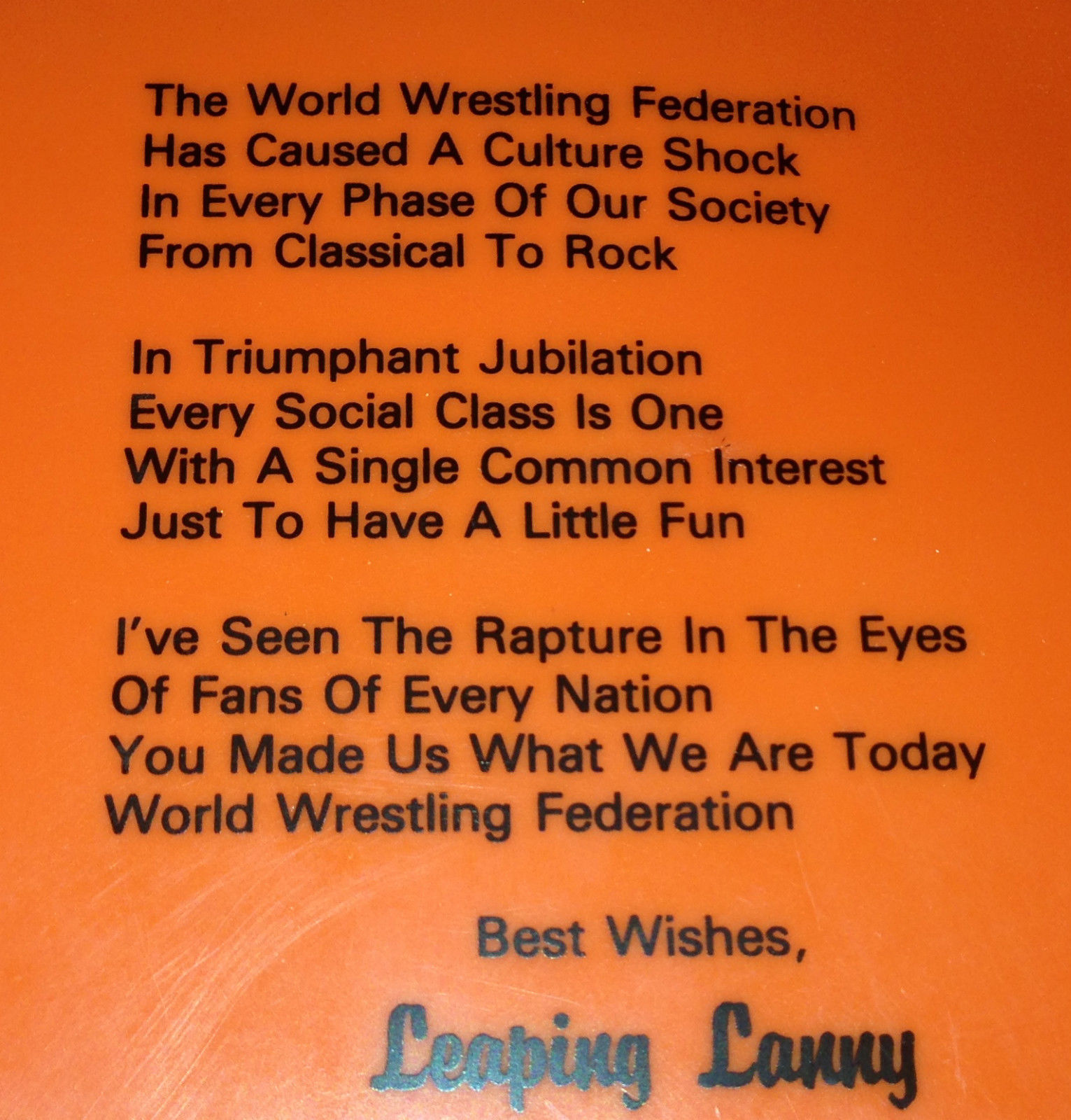 Lanny Poffo Genius Flying Disc Frisbee 2 poem closeup