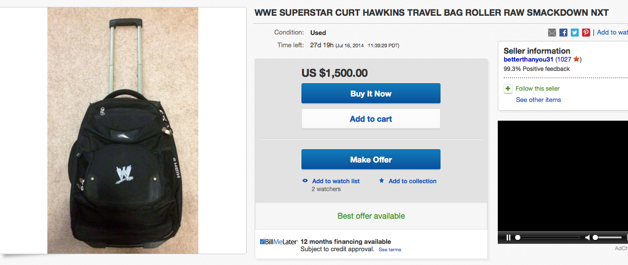 Curt Hawkins WWE travel bag eBay price