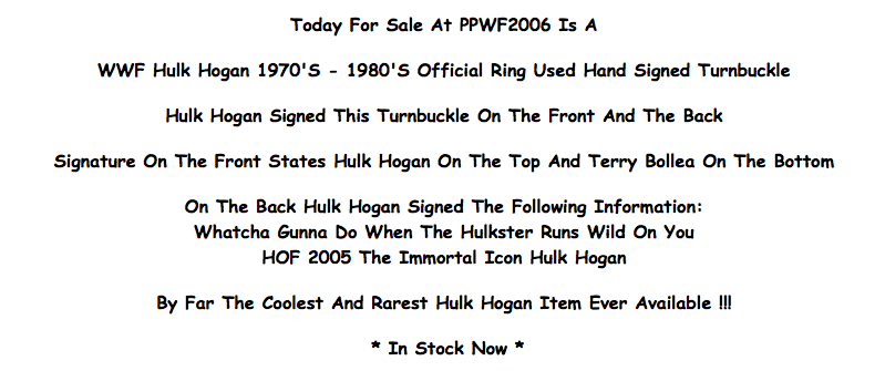 Hulk Hogan signed turnbuckle description