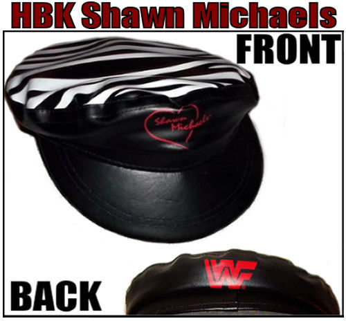 Shawn Michaels zebra stripe heart logo hat