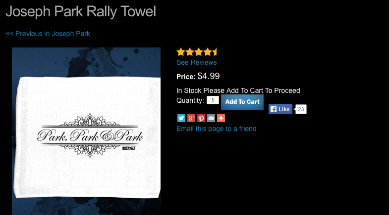 TNA Joseph Park rally towel