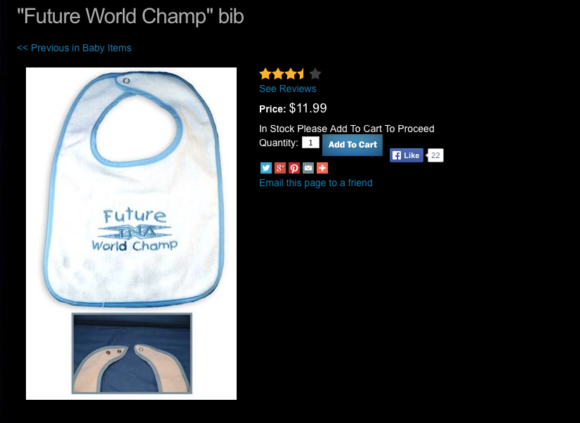 TNA baby bib boys Future World Champion