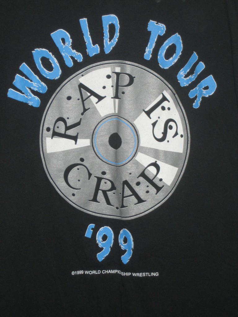 WCW West Texas Rednecks Rap Is Crap World Tour '99 shirt closeup