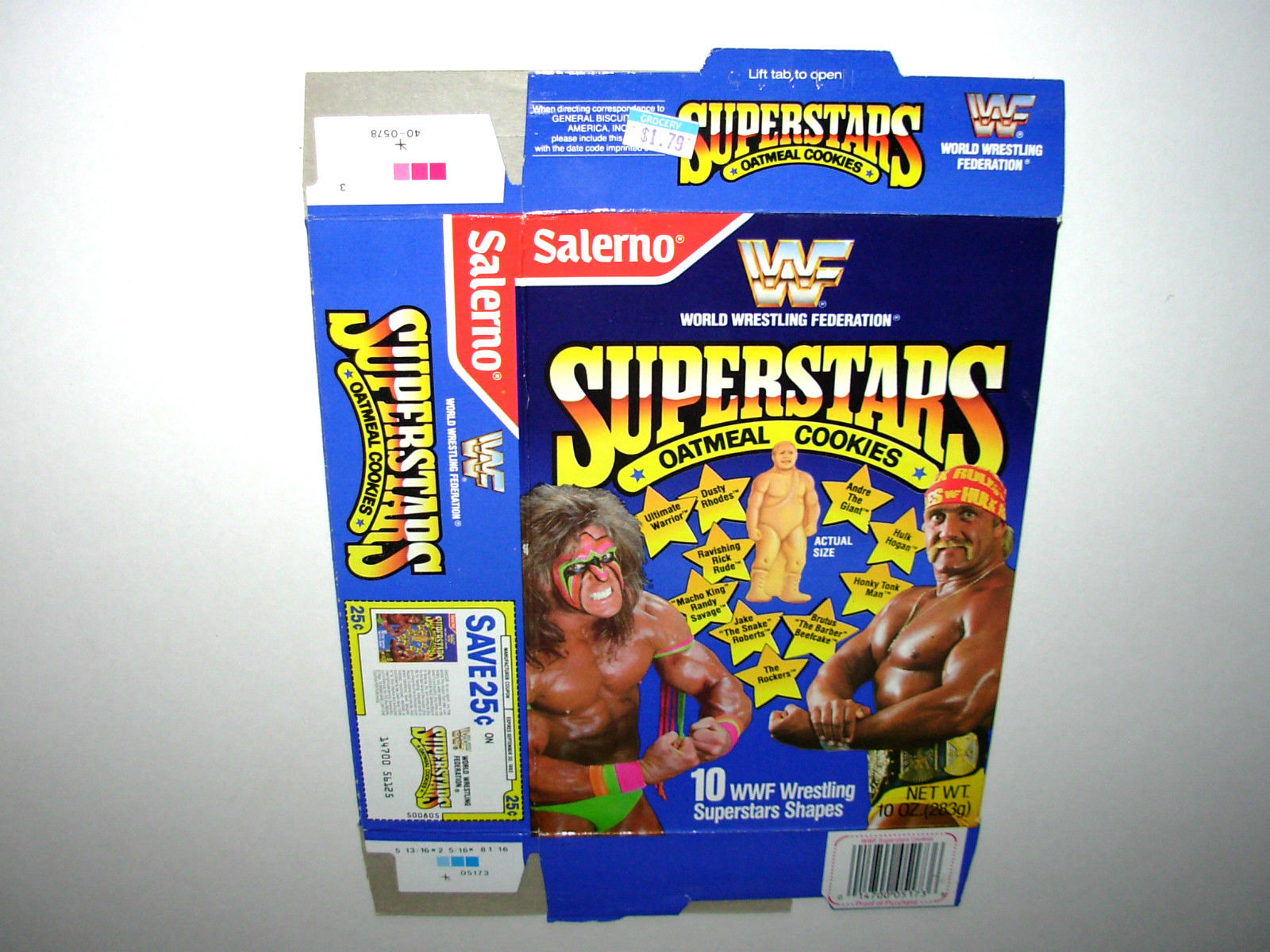 WWF Superstars Oatmeal Cookies box Ultimate Warrior Hulk Hogan