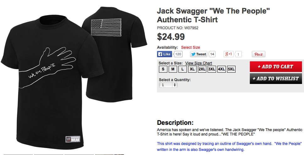 Jack Swagger We The People hand trace shirt