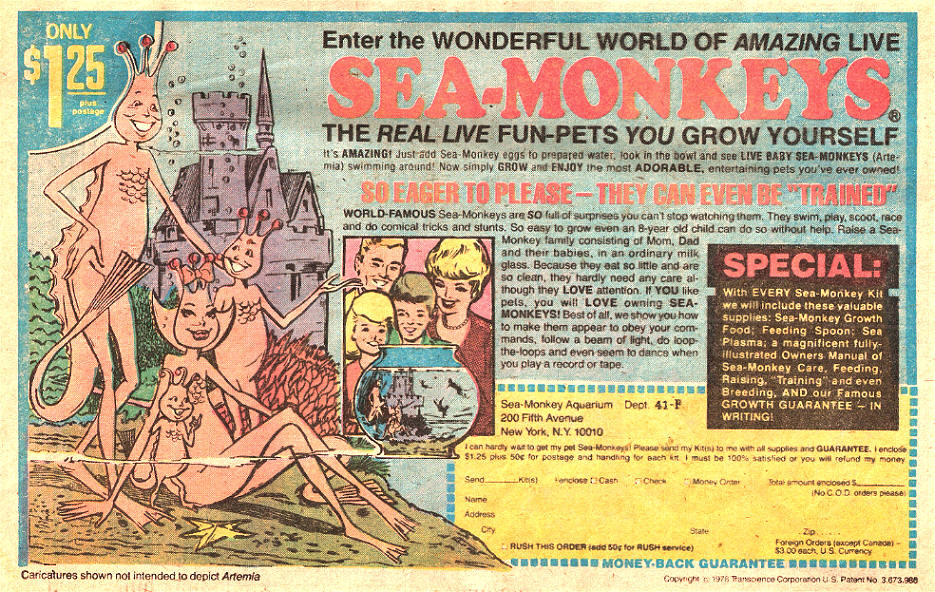 Sea Monkeys comic book ad