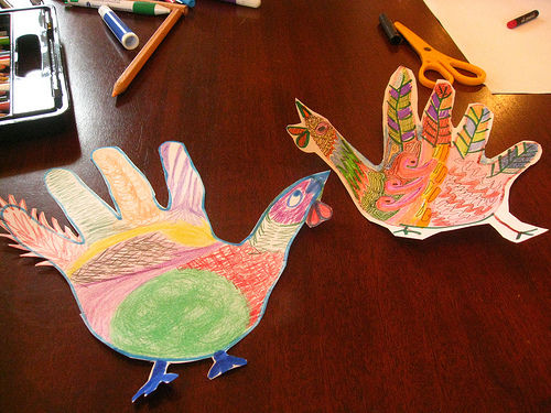 Turkey hand art Thanksgiving