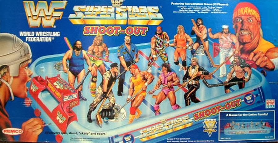 WWF Superstars shoot-out hockey tabletop game front of package