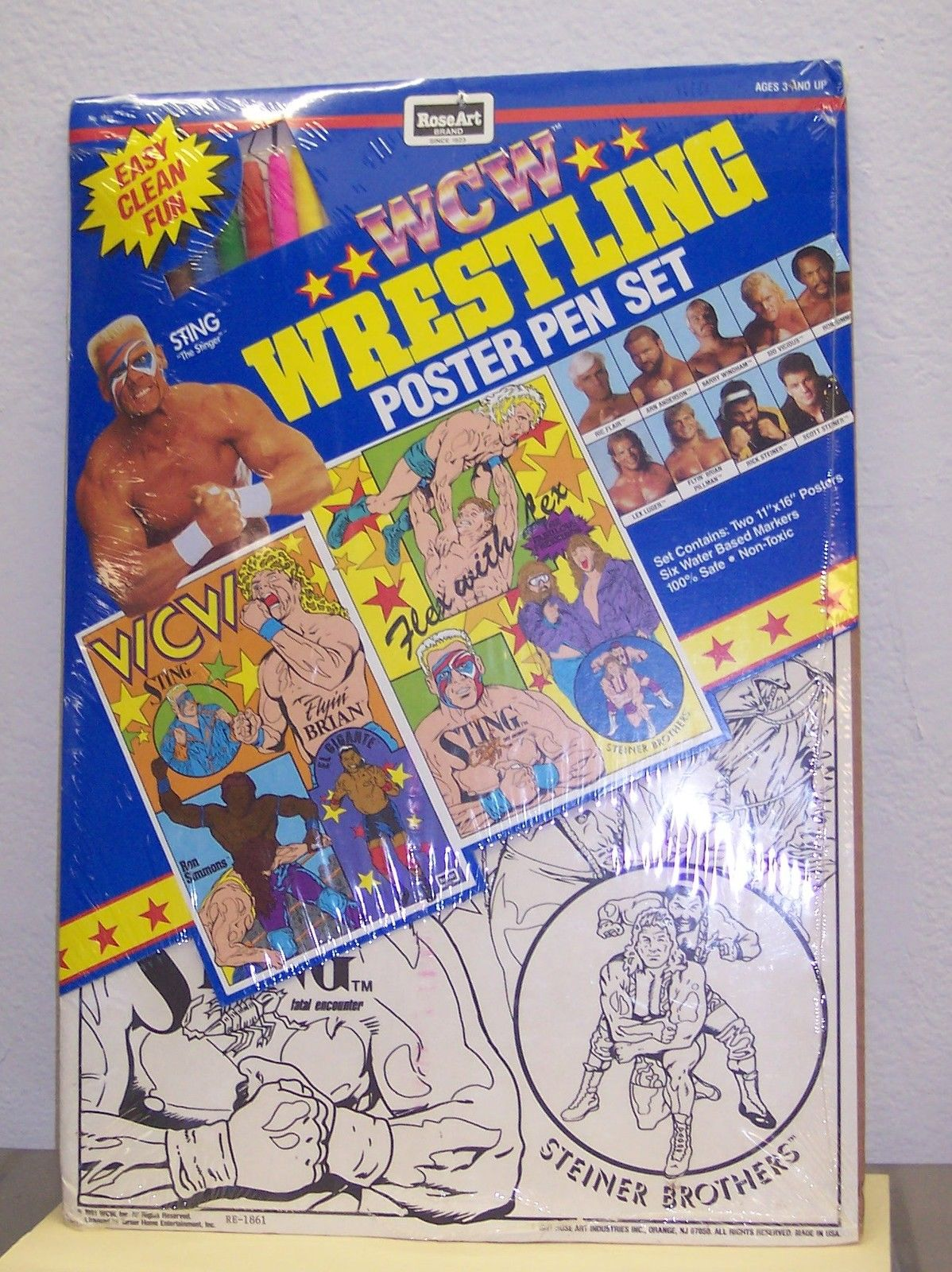 WCW RoseArt Wrestling Poster Pen Set 1