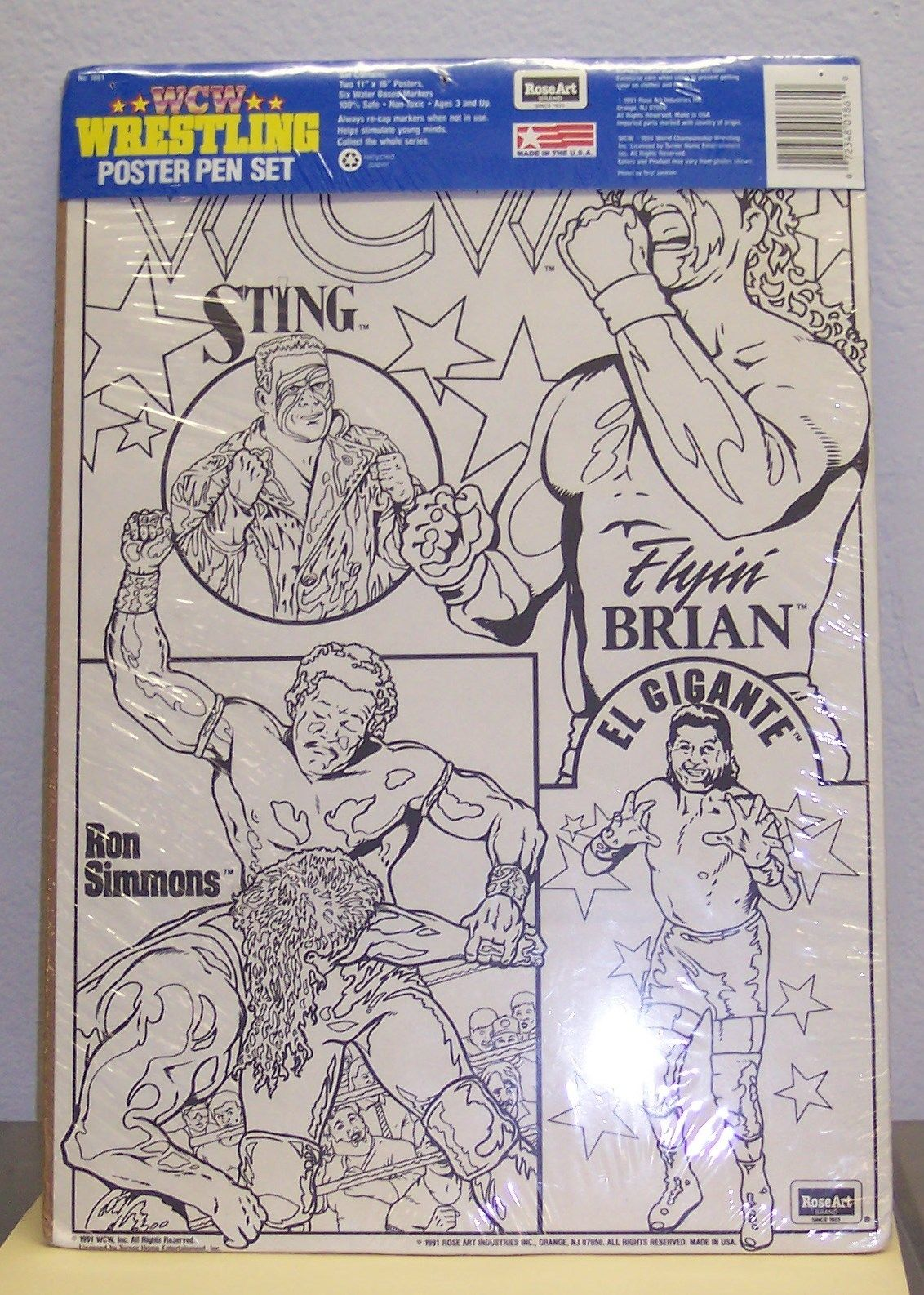 WCW RoseArt Wrestling Poster Pen Set 2