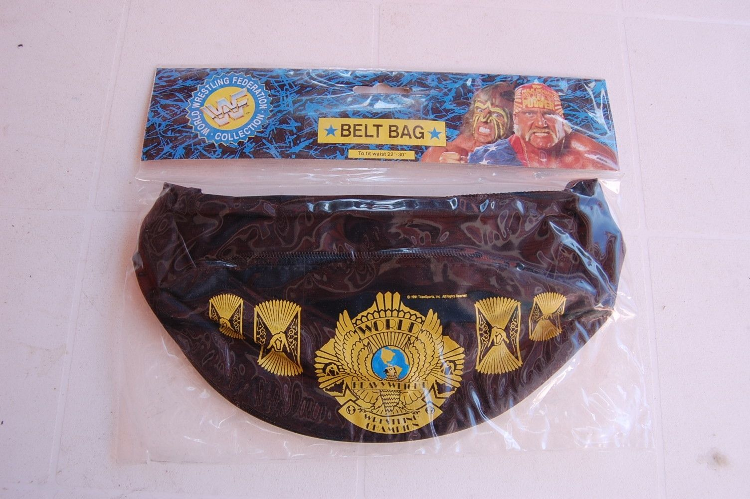 WWF Fanny Pack Hulk Hogan Ultimate Warrior World Championship Belt Bag 2