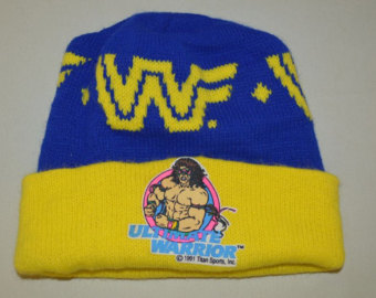 WWF Ultimate Warrior knit cap hat winter