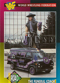 WWF Undertaker funeral coach and balloon trading card