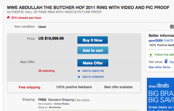 Abdullah The Butcher WWE Hall Of Fame ring eBay listing