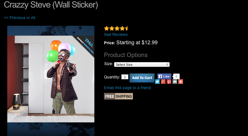 TNA Crazzy Steve wall sticker
