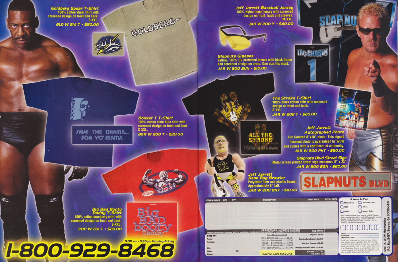 WCW Magazine March 2001 catalog Jeff Jarrett Slap Nuts jersey and sign