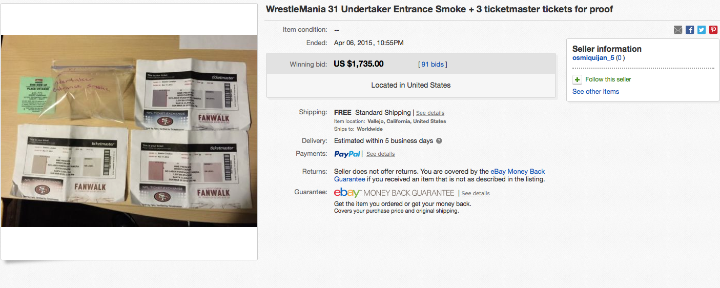The Undertaker entrance smoke auction