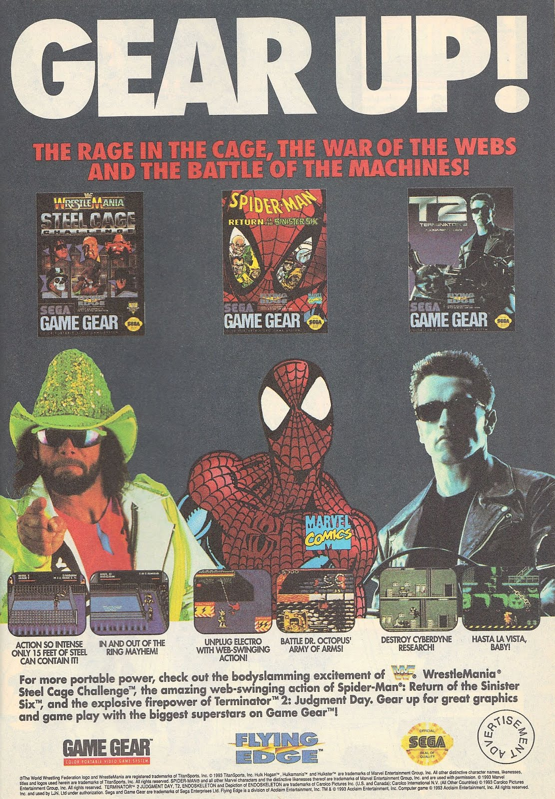 WWF Wrestlemania Steel Cage Challenge Game Gear comic book ad