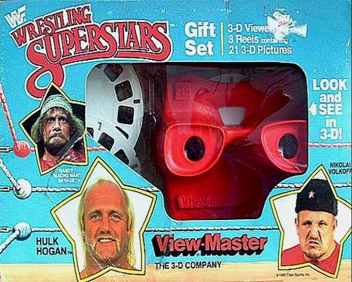 WWF view-master viewer in box with reels