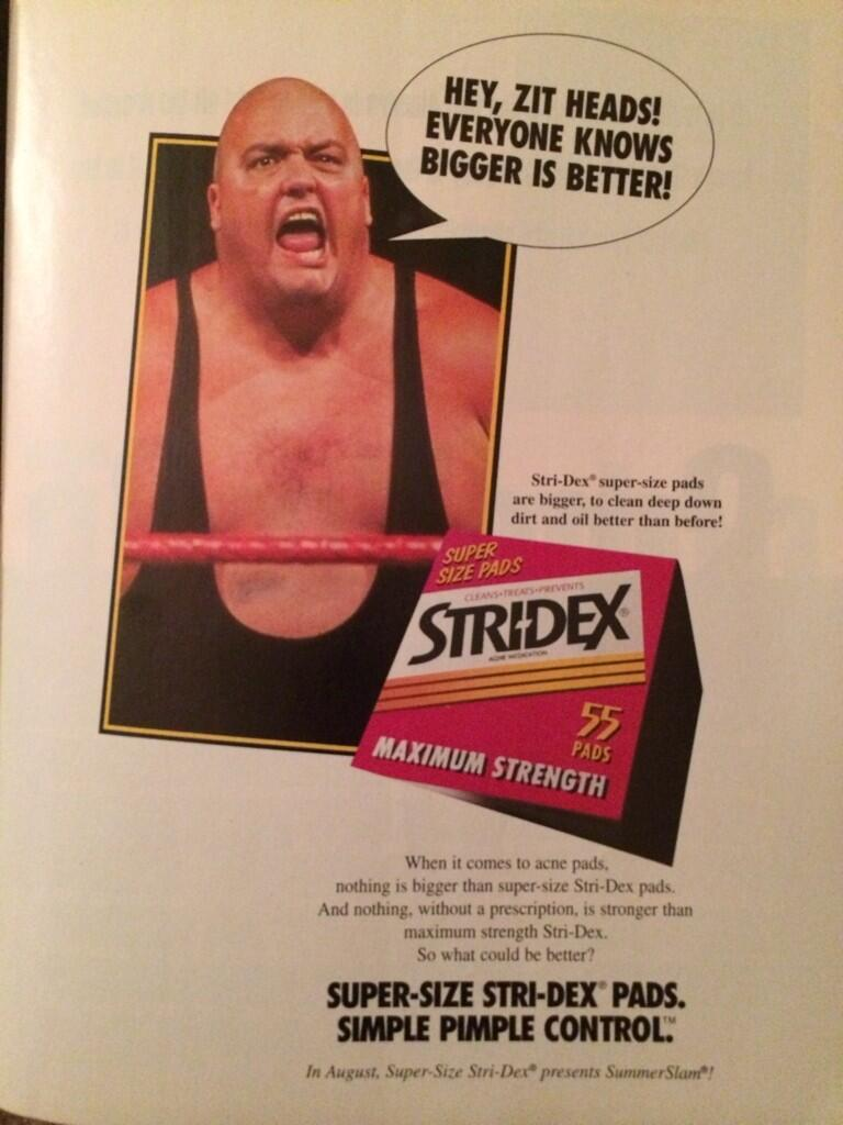 WWF King Kong Bundy Stri-dex 1995 ad