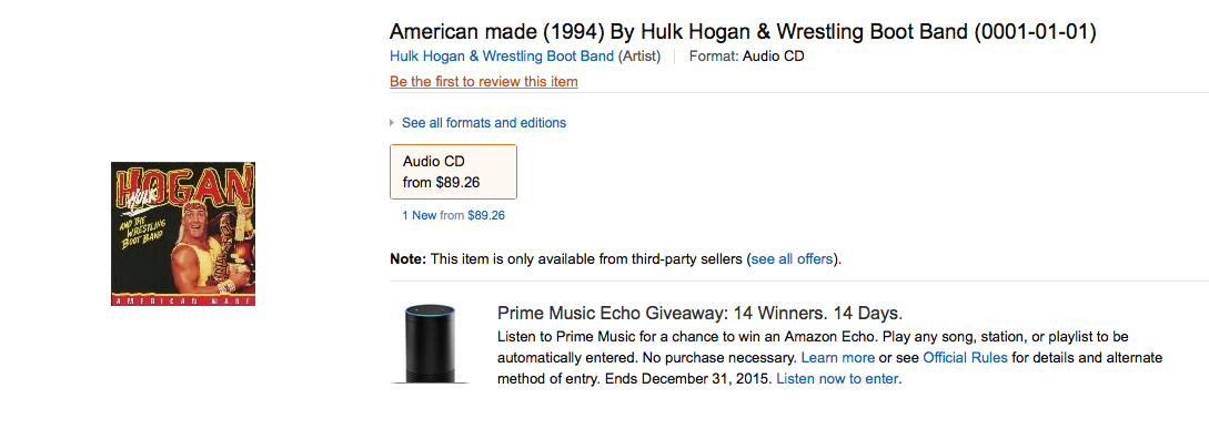 Hulk Hogan American Made CD single Amazon listing