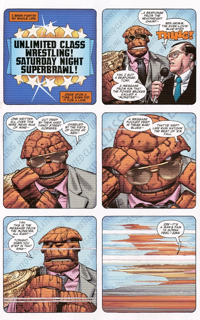 The Fantastic Four The Thing wrestling comic book