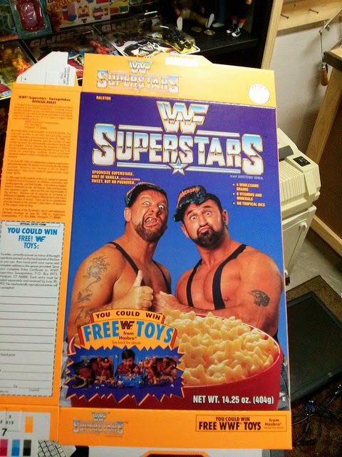 WWF Superstars cereal Bushwhackers box