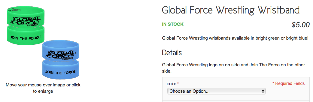 GFW Global Force Wrestling wristband wrist band