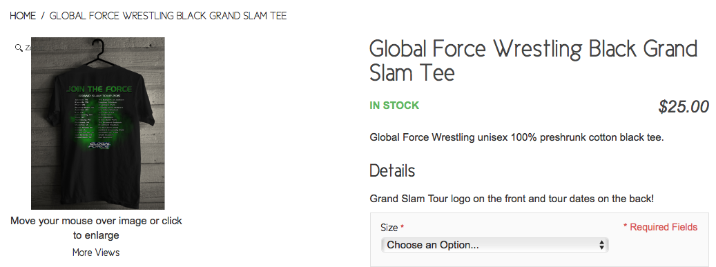 Global Force Wrestling GFW Grand Slam baseball tour t-shirt