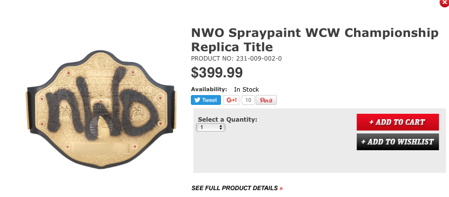 NWO spraypaint spray paint WCW World Heavyweight Championship title belt replica