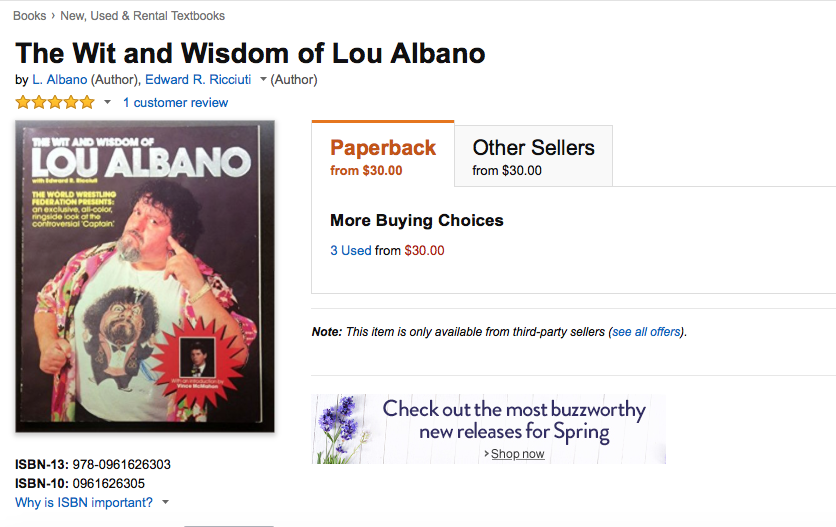 The Wit And Wisdom of Captain Lou Albano Amazon listing