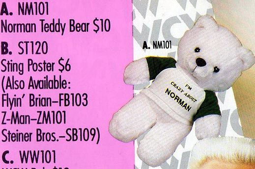 WCW Norman The Lunatic Teddy Bear merchandise catalog close up shot