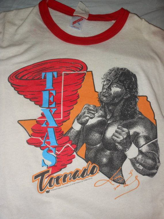 WWF Texas Torando red tornado shirt 2