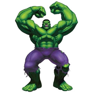 The Incredible Hulk arms raised