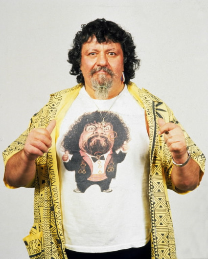 WWF Captain Lou Albano wearing caricature shirt