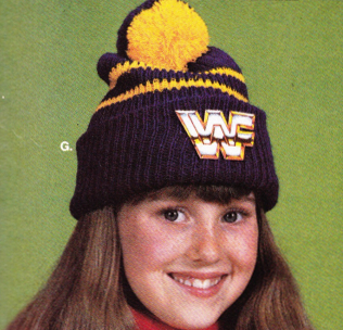 WWF logo knit winter cap hat poofball poof ball
